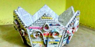 Gazeteden Sepet Yapımı Anlatımlı - Geri Dönüşüm Projeleri - gazete kağıdından neler yapılır gazeteden neler yapılır örnekleri gazeteden sepet yapımı aşamaları gazeteden süs eşyası yapımı gazeteden yuvarlak sepet yapımı